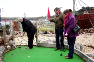 A serious business: playing crazy golf at Barry Island. (PHOTO: PHIL MANSELL)