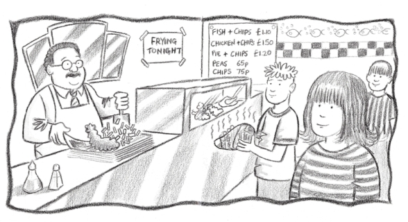 A fish and chip shop in 'Welcome to Jubilee Street' by Phil Mansell.