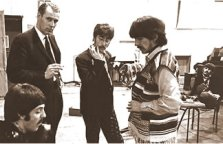 George Martin working with Beatles on probably their greatest LP 'Sgt pepper's Lonely Hearts Club Band'.