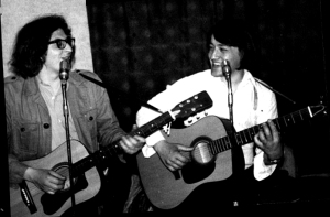 Rare archive photo of Phil Mansell and Drew Millin of the BOI performing live. (Phil Mansell Collection)