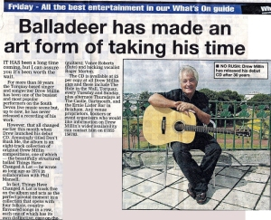 Drew's CD makes the news. A cutting from The Herald Express.