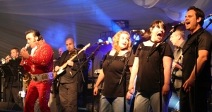 The Elvis tribute band rocking in the marquee. (PHOTO: PHIL MANSELL)
