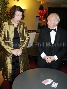 Paul Daniels astounds a fashion lecturer at Newport University's  May Ball. (PHOTO: PHIL MANSELL)