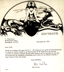 Rejection letter from Richard Branson's then new Virgin Records. (Phil Mansell Collection)