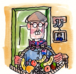 Sam with Fruit- illustrated by Phil Mansell