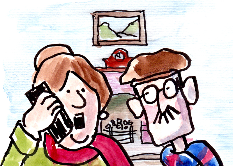 Sam and Janet phone the police. - illustration by Phil Mansell